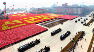 Rockets are carried by military vehicles during a military parade to celebrate the centenary of the birth of North Korea's founder Kim Il-sung in Pyongyang